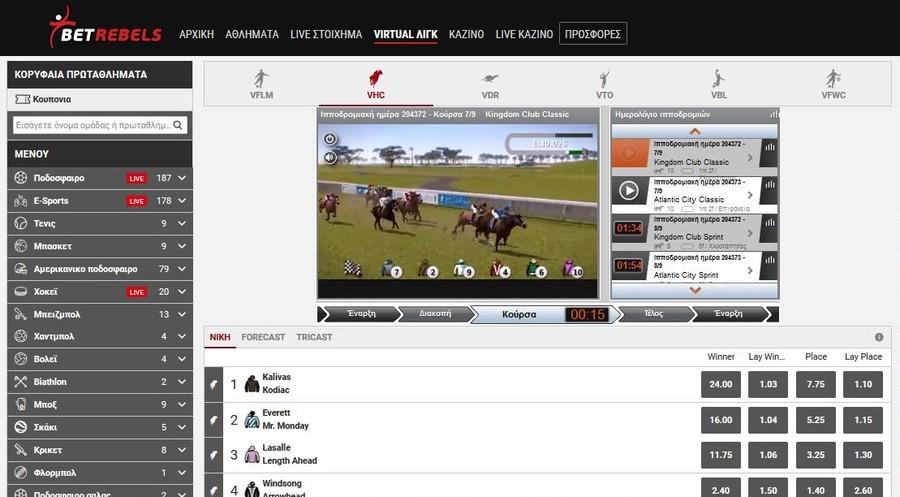 Virtual Sports στην BetRebels: Παιχνίδια και αγορές